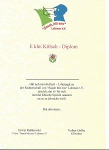 Urkunde org Kölsch Diplom